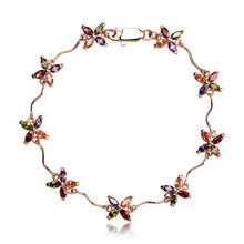 18KGP Summer Flower Crystal Anklet Made With SWA Elements Women's Designer Jewelry Free Shipping (CA002)