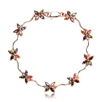 18KGP Yaz Çiçek Kristal Halhal Ile Yapılan SWA Elemanları kadın Tasarımcı Takı Ücretsiz Kargo (CA002)