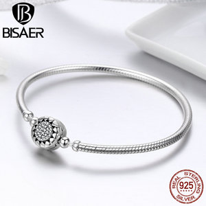 Image 5 - Classic 2019 New 925 Sterling Silver Bright Heart Round Snake Clasp Bracelets Basic Silver Charms Bracelet Women DIY Jewelry
