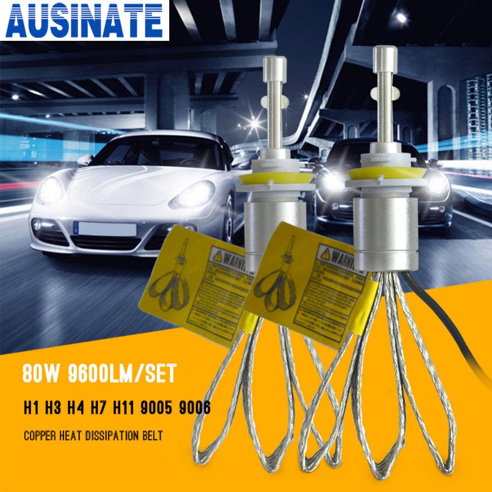Super Bright Led Lamp H11 80W 9600lm H8 H9 H11 Led Headlight 6000K White Car LED