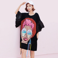 Women Sequins Mini Dress 2017 Summer New Fashion Cartoon Print Female T Shirt Dress Casual Ruffles