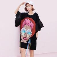 Women Sequins Mini Dress 2017 Summer New Fashion Cartoon Print Female T Shirt Dress Casual Ruffles