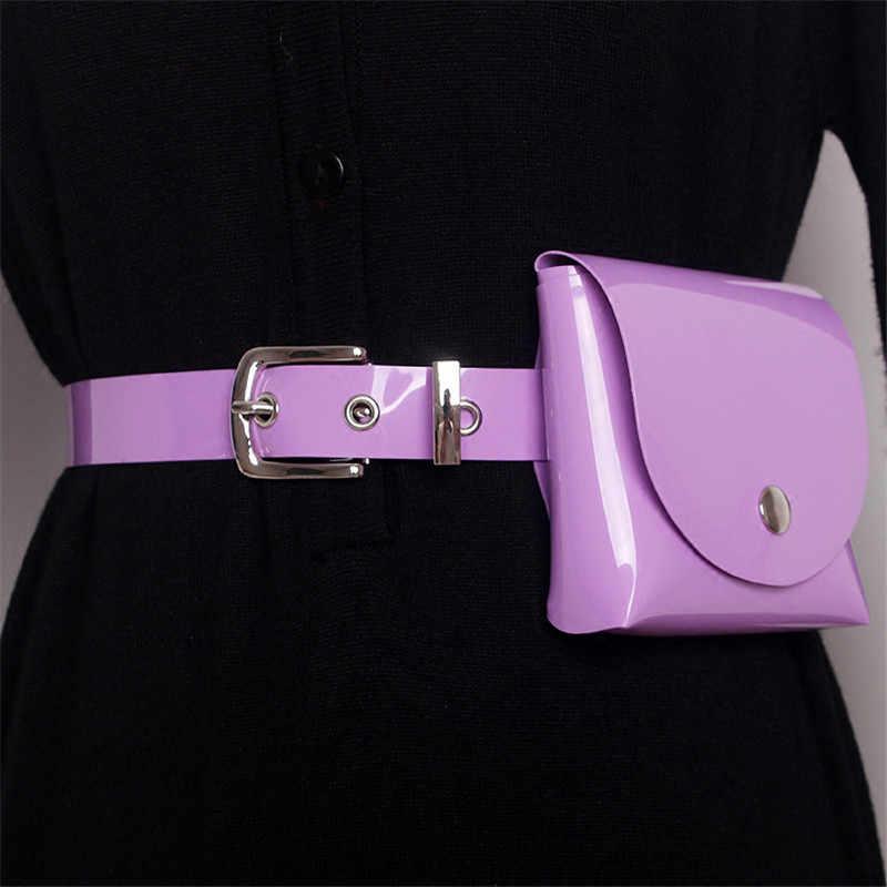 Mihaivina ファッション女性ウエストパックカジュアル女性の Pvc 紫色のベルトバッグ女の子のファニーパックミニバッグ女性のためのドレス 7 色