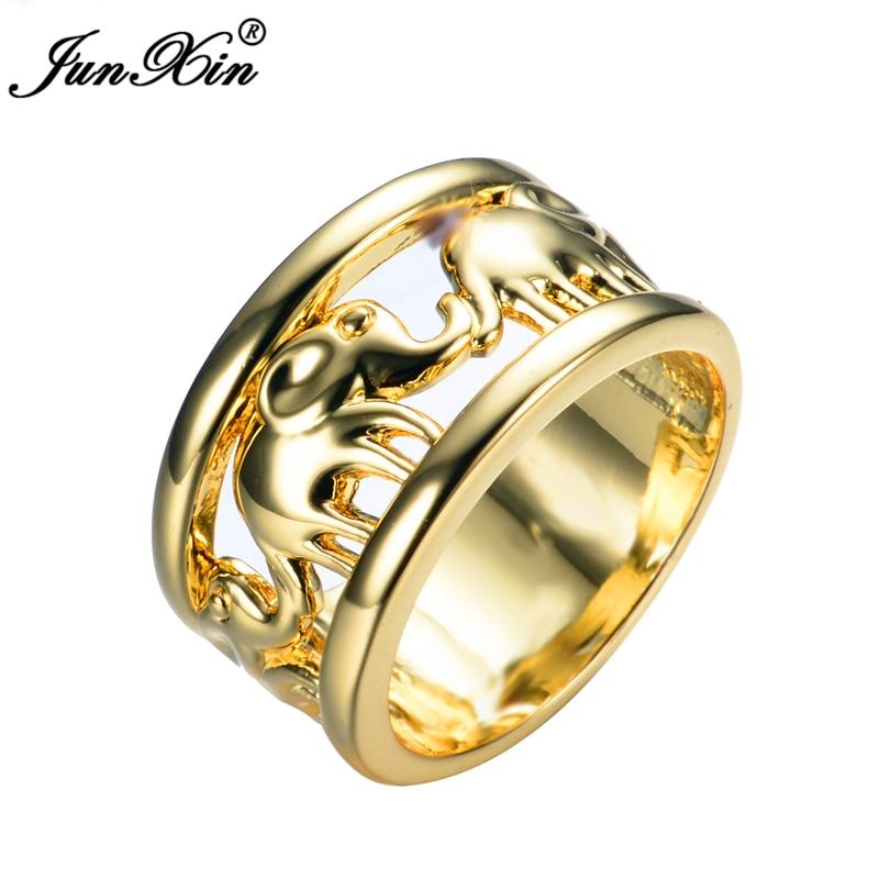 JUNXIN Cute Gold Elephant Design Women Fashion Jewelry