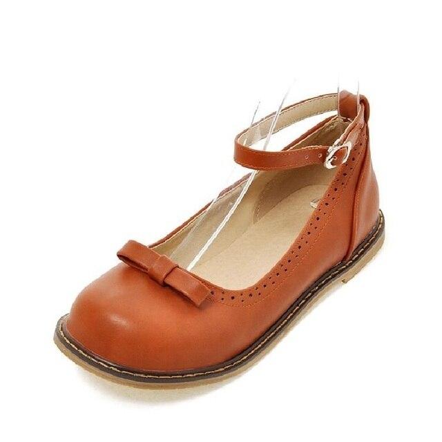 9b13e2eb9 Agradável Primavera Doce Arco Bonito Sapatos Único com Tira No Tornozelo  Planas Boneca mulheres Sapatos Retro. Passe o mouse em cima para dar zoom