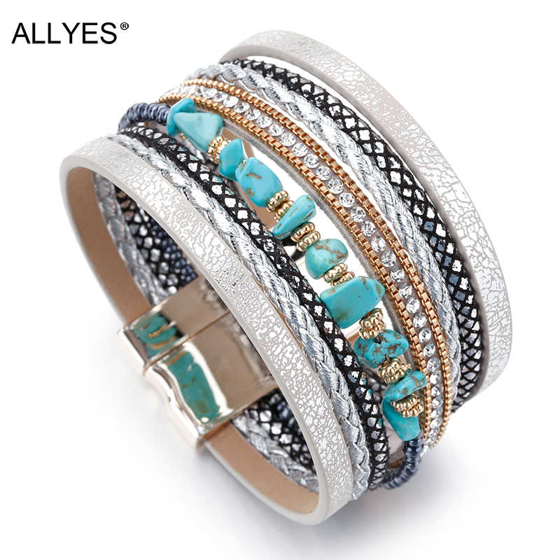 ALLYES Natural Stone Leather Bracelets For Women Luxury Brand Femme Boho Style Wide Multilayer Wrap Bracelet Female Jewelry