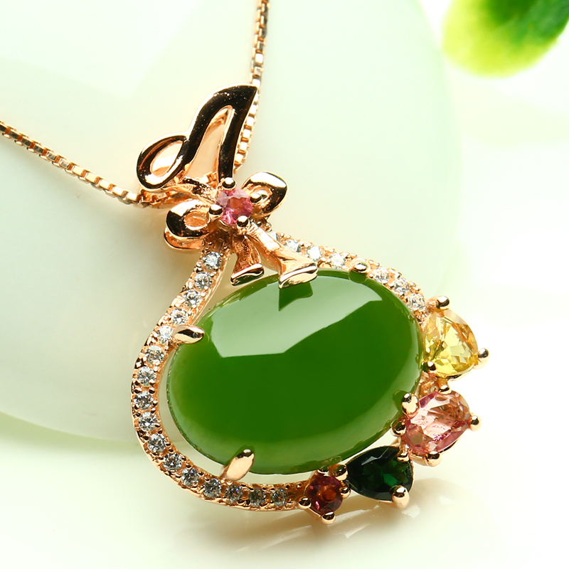 где купить 925 silver Gold Natural Green HeTian Yu Inlay Gem stone Lucky Pendant Necklace + certificate Fashion Jewelry for woman дешево