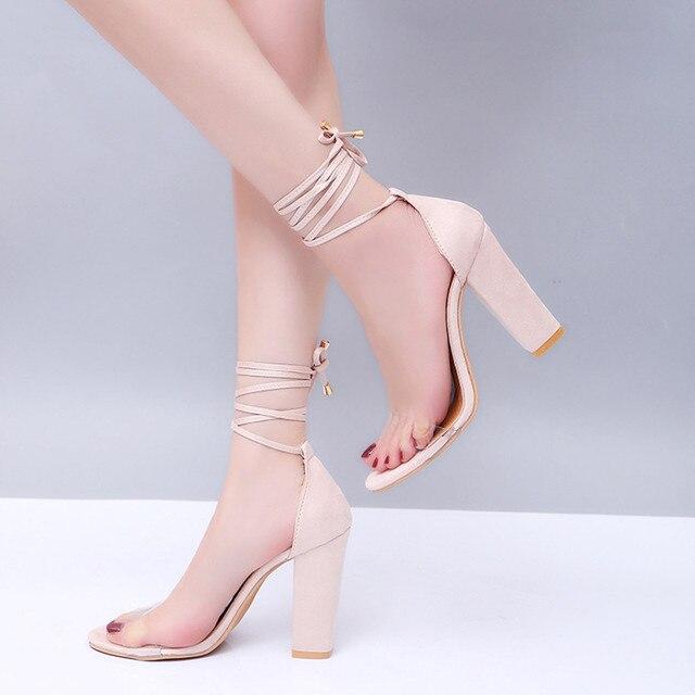 Fashion Women Lady Sandals Ankle High Heels Block Party Open Toe Shoes Uncategorized Fashion & Designs Ladies Shoes Women's Fashion