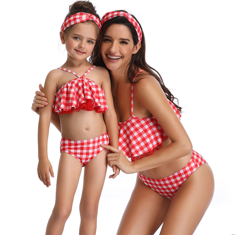 Summer Family Matching Swimwear Mother Daughter Plaid Bikini Bathing Suit Swimwear Family Matching Outfits Kids Mom Swimsuit (1)