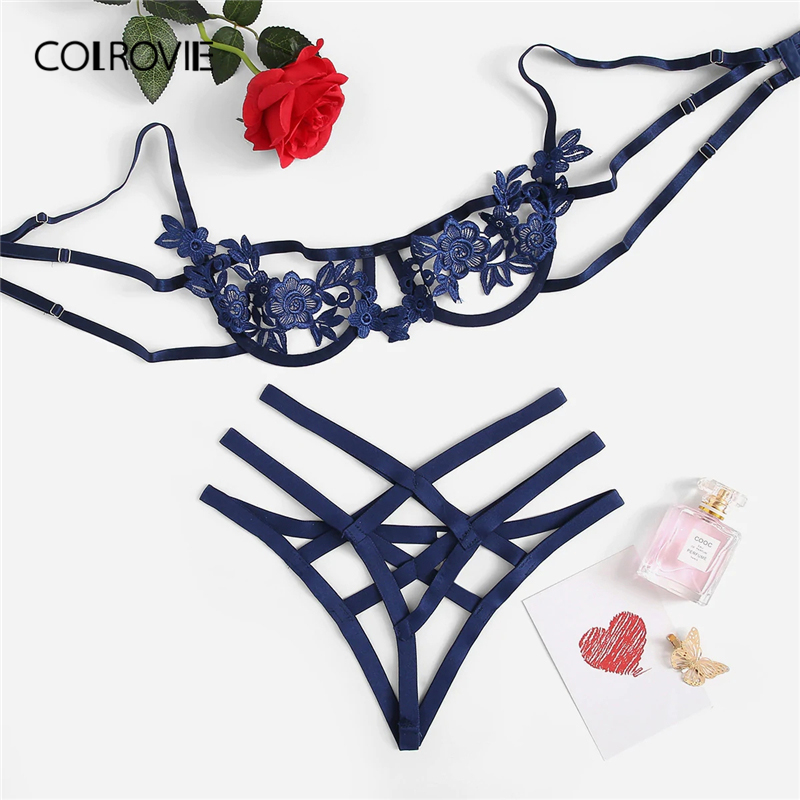 COLROVIE Blau Gurt Appliques Bügel Sexy Frauen Vertrauten 2019 Schwarz Thongs V-String Transparent Weibliche Unterwäsche Bh Set