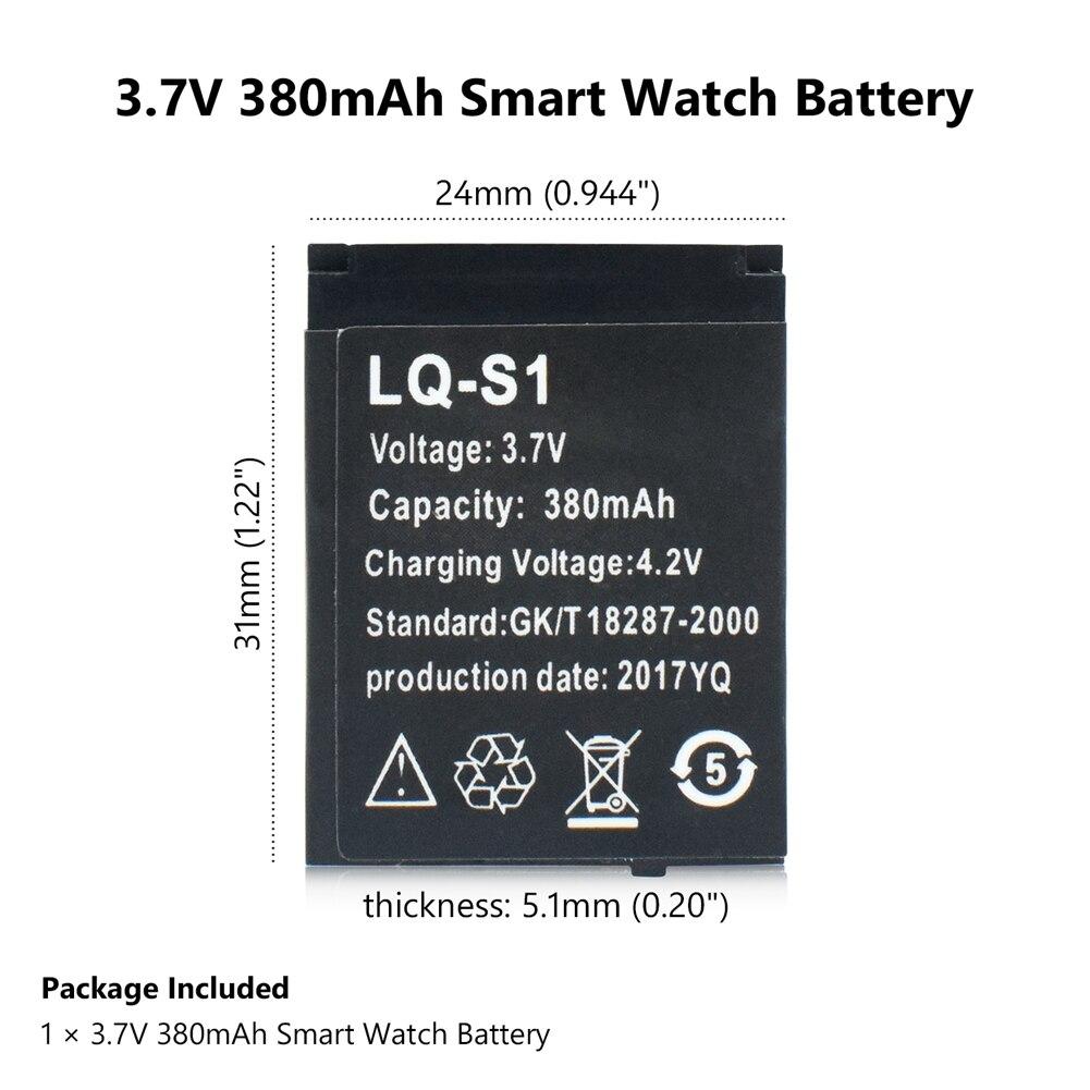 One Piece Rechargeable 380mAh LQ-S1 Li-polymer Li-ion Lithium Battery SmartWatch Batteries For DZ09 QW09 W8 A1 V8 X6 Smart Watch