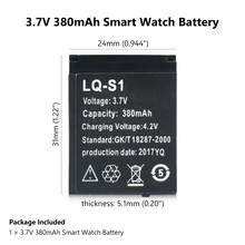 One Piece Rechargeable 380mAh LQ-S1 Li-polymer Li-ion Lithium Battery SmartWatch Batteries For DZ09 QW09 W8 A1 V8 X6 Smart Watch(China)