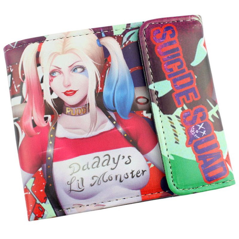 Suicide Squad Harley Quinn Harleen Quinzel High Quality PU Short Wallet/Purse with Button fashion long with bunches synthetic fluffy wavy ombre suicide squad harleen quinzel cosplay wig