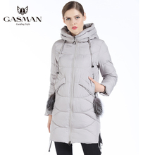 GASMAN 2018 New Winter Fashion Down Jacket Women Hooded Thick Parka For Slim Coat With Natural Fur