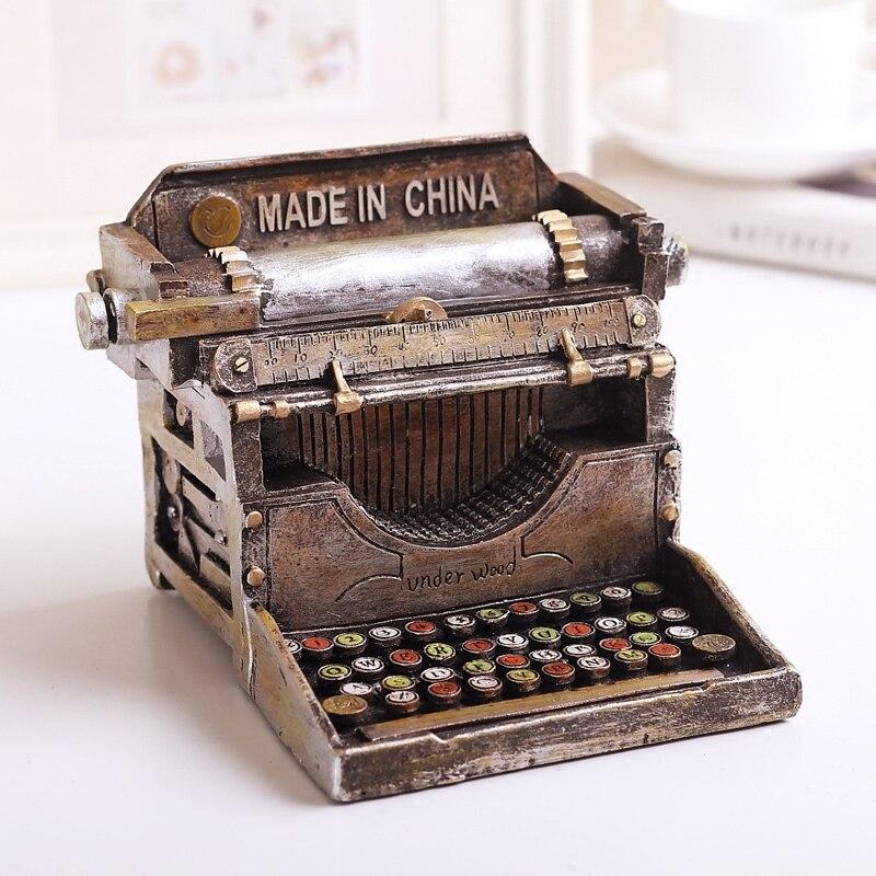 American Style Countryside Creative antique imitation typewriter model money boxes coin bank box saving bank home decor resin