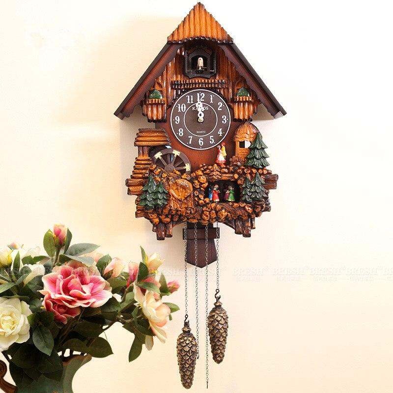 Kairos moderne en bois mur coucou horloge mode rustique muet photocommutable chronométrage pour enfants chambre décoration
