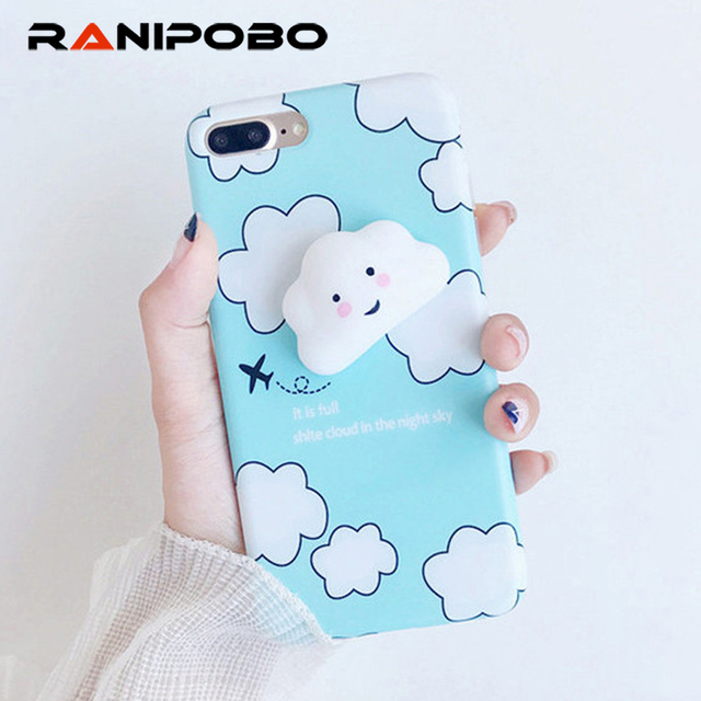 low priced 91567 4927c Aliexpress.com : Buy Cute Cartoon 3D Smiling clouds Stress Relievr Squishy  Phone Case For iPhone 6 6s 7 Plus Soft IMD Back Cover Fundas Coque from ...