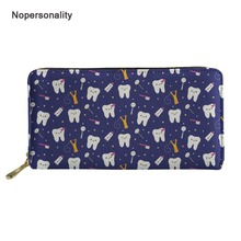 Nopersonality Dental Pattern Women Leather Wallets Personality Female Ladies Credit Card Holders Long Zipper Coin Purse