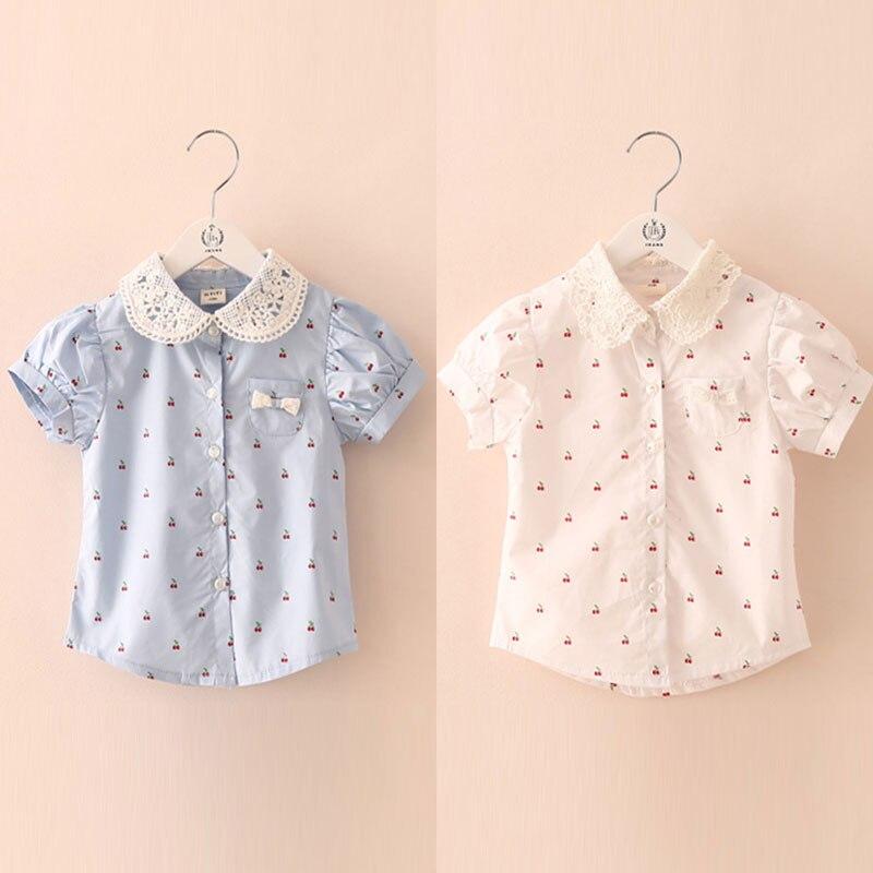2016 Summer Female Children'S Clothing Baby Child Girl Kids Cherry Short-Sleeve Shirt