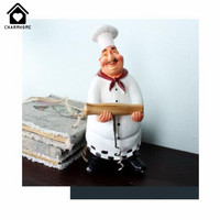 CharmHome Retro Resin Chef Figurine American Style White Kitchen Cook Kitchen Dining Room Cabochon Home Desktop Decor Crafts