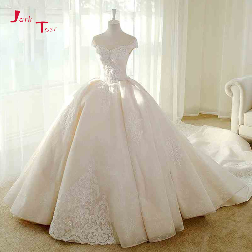 Jark Tozr Short Sleeve Lace Up Beading Appliques Gorgeous Princess Ball Gown Wedding Dresses With Chapel Train Vestido Noiva