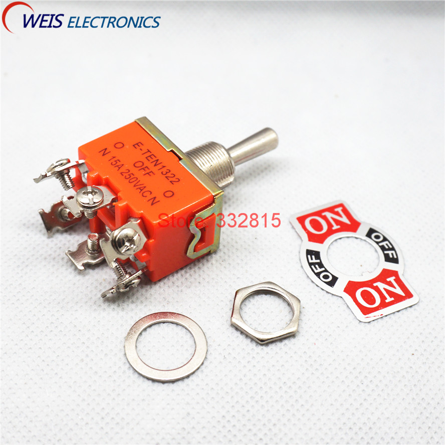 5PCS E-TEN1322 DPDT ON-OFF-ON toggle switch DIP 6PIN <font><b>6A</b></font> <font><b>250V</b></font> handle length 17mm slide switches E-TEN 1322 ROHS Free shipping D. image