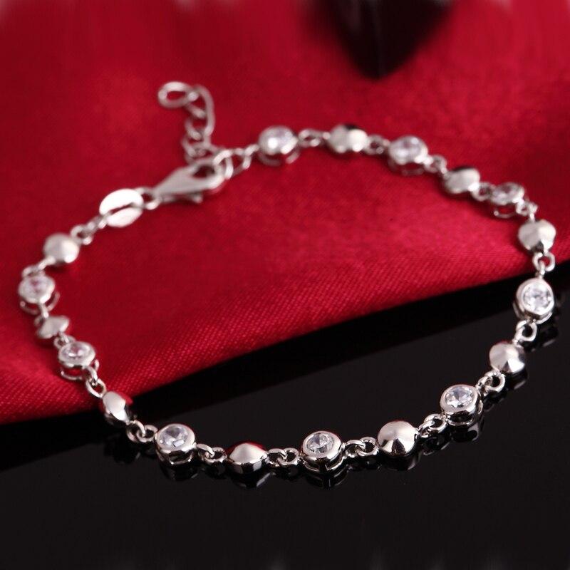 Classic Real Pure 925 Sterling Silver Cubic Zirconia Bracelet Jewelry Bracelets Women Braclets bracelets for men bracelet personnalisable mens braclets silver 925 5mm