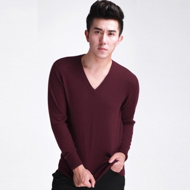 LHZSYY spring and autumn New Men's Fashion V Neck Cashmere Sweater Short section Knit Pullover Long sleeve Solid color Sweaters