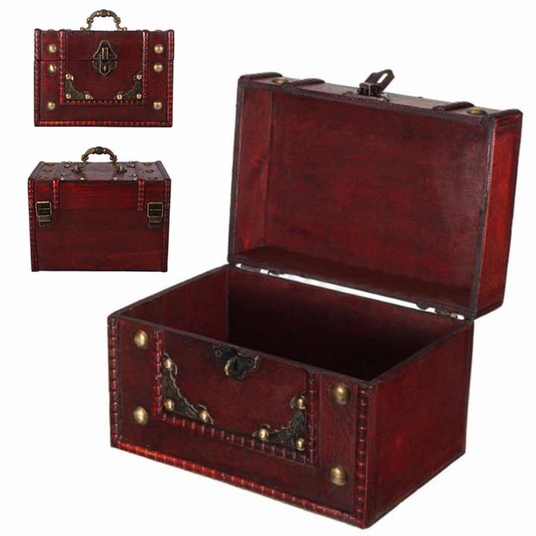 Vintage ขนาดใหญ่ไม้ Treasure กล่อง Keepsake กรณีล็อคใหม่