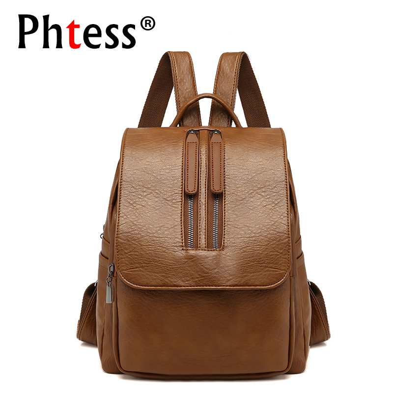 2018 New Women Leather Backpacks Travel Bagpack Vintage Female Backpacks For Teenage Girls Sac a Dos Solid School Bags Mochilas