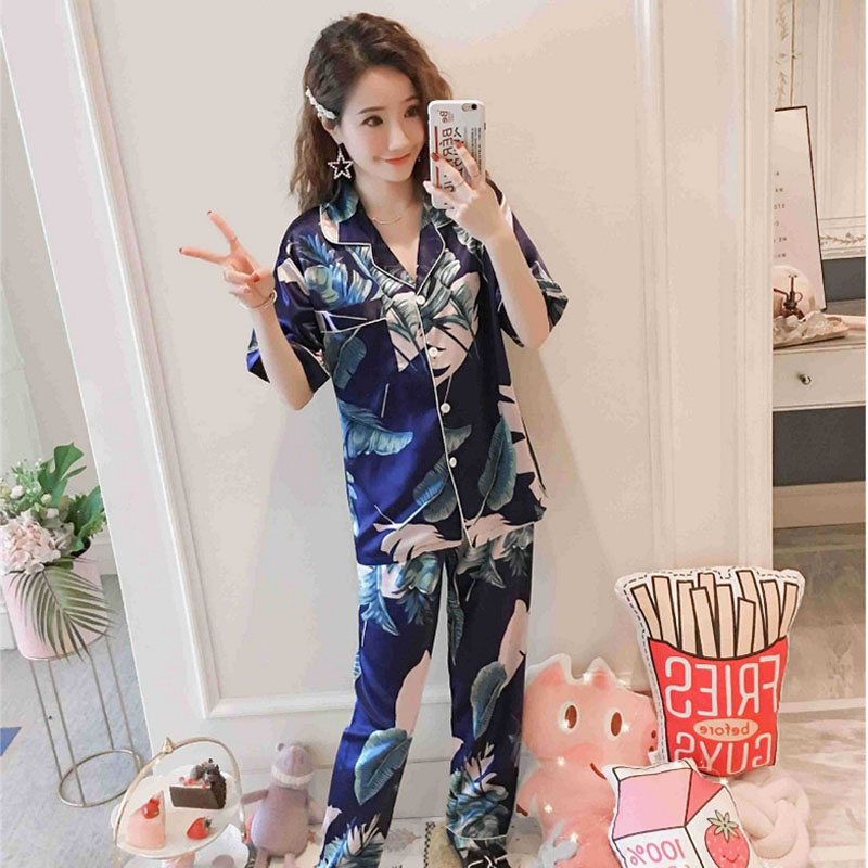 2019 Fashion Spring Pajamas Adult Banana Leaf Sweet Women Sleepwear Set Girl Nightgown Long Pant Cute Pajamas Women Sets(China)