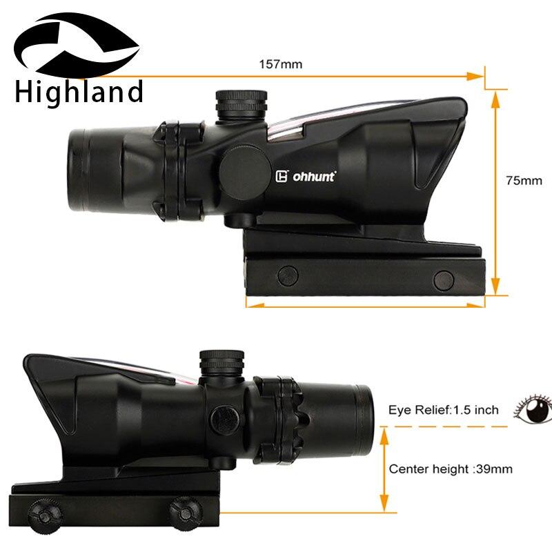 Chasse 4X32 ACOG réel Fiber portée BDC Chevron fer à cheval réticule tactique optiques vues pour cal. 223. 308