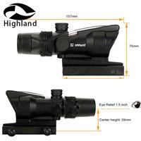 Hunting 4X32 ACOG Real Fiber Scope BDC Chevron Horseshoe Reticle Tactical Optical Sights for cal .223 .308