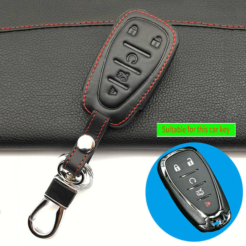 5 Buttons Leather Remote Key Case Cover Smart Keyfob for Chevrolet Camaro Cruze