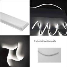 5 30 adet/grup 0.5 m/adet esnek Led kanal ücretsiz bükülmüş alüminyum profil 5050,5630 şerit, sütlü/net kapak 12mm PCB mutfak doğrusal