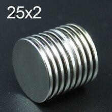 5/10 шт 25x2 Неодимовый Магнит 25 мм х 2 мм N35 NdFeB Круглый супер мощный сильным постоянное Магнитное imanes диск 25x2