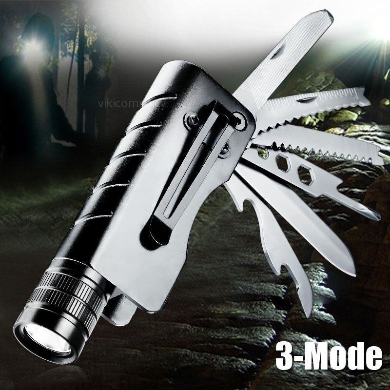 1200Lum Q5 LED Outdoor flashlight rechargeable camping font b knife b font torch survival multifunctional jackknife