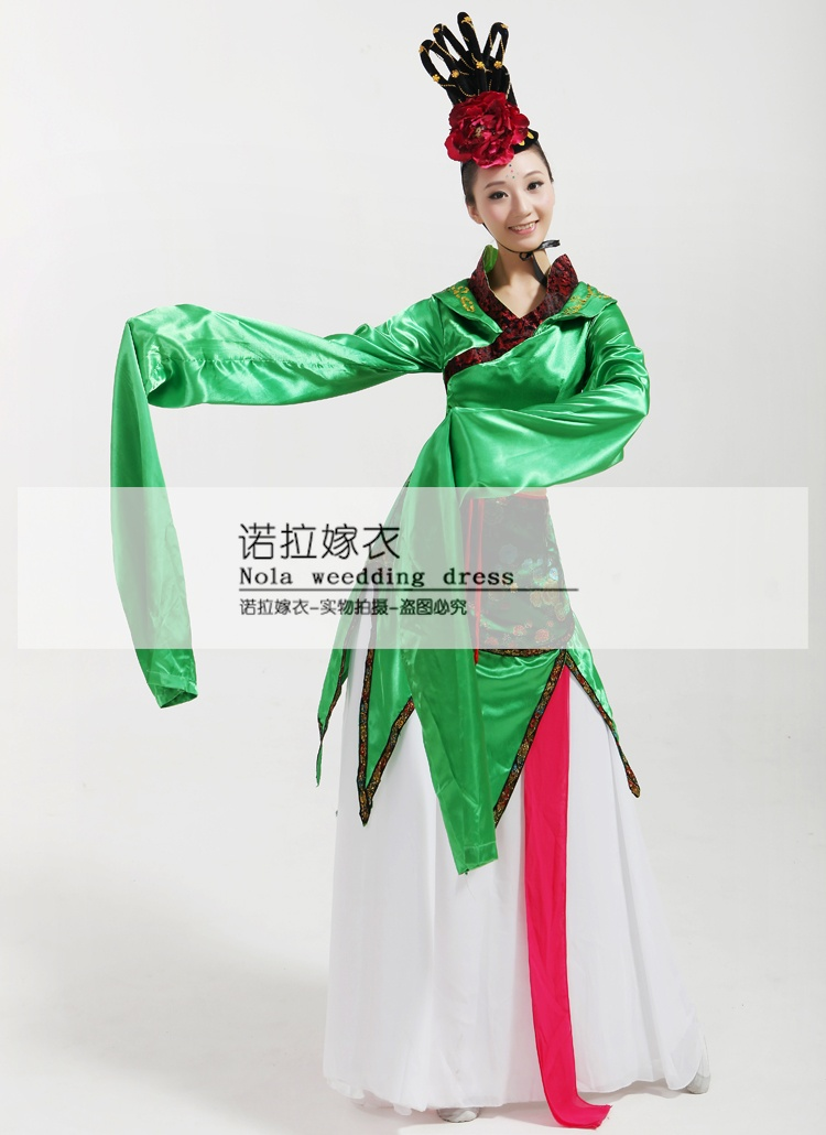 CCTV Весна фестиваль костюмы для выступлений Длинные рукава воды традиционный наряд ханьфу выщипывание стопать классический китайский тане... - 2