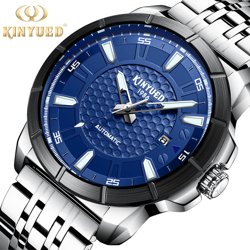 KINYUED Brand Men Mechanical Watch Stainless steel Automatic Fashion Luxury Submariner Clock Male Reloj Hombre Relogio Masculino цена