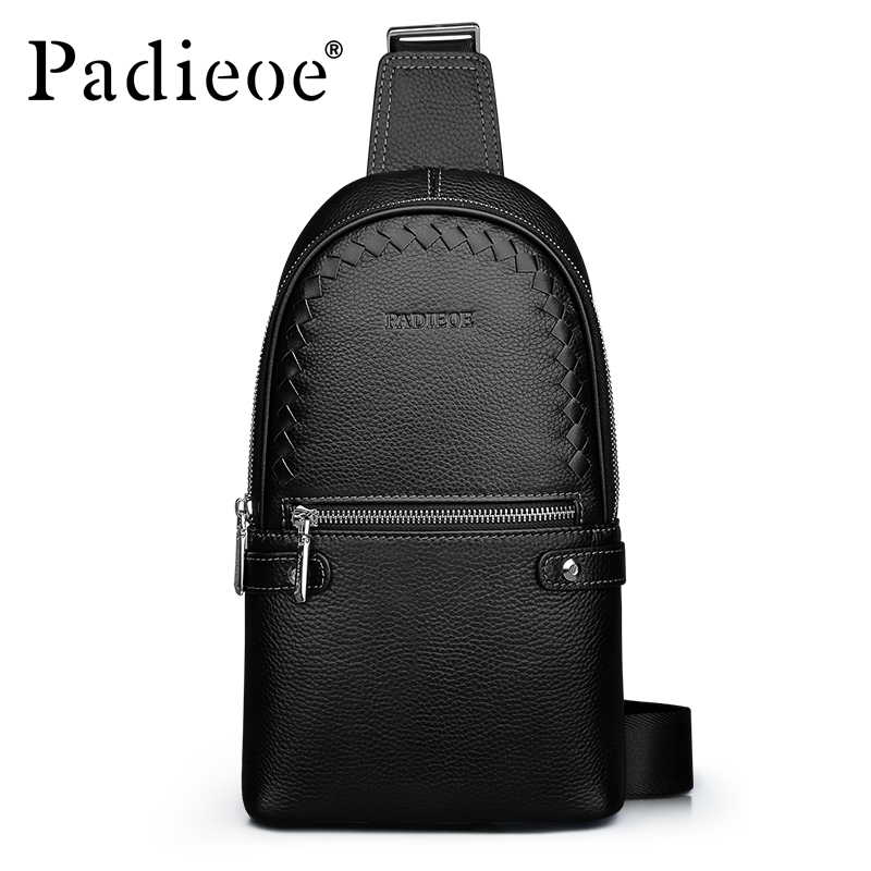 Padieoe Real Cowskin Leather Chest Bag For Men Famous Brand Designer Woven Pattern Genuine Cowhide Male Crossbody Bags Hot Sale padieoe men s real cow leather shoulder bag genuine cowhide vintage crossbody bag designer messenger bags for male nb160880 4