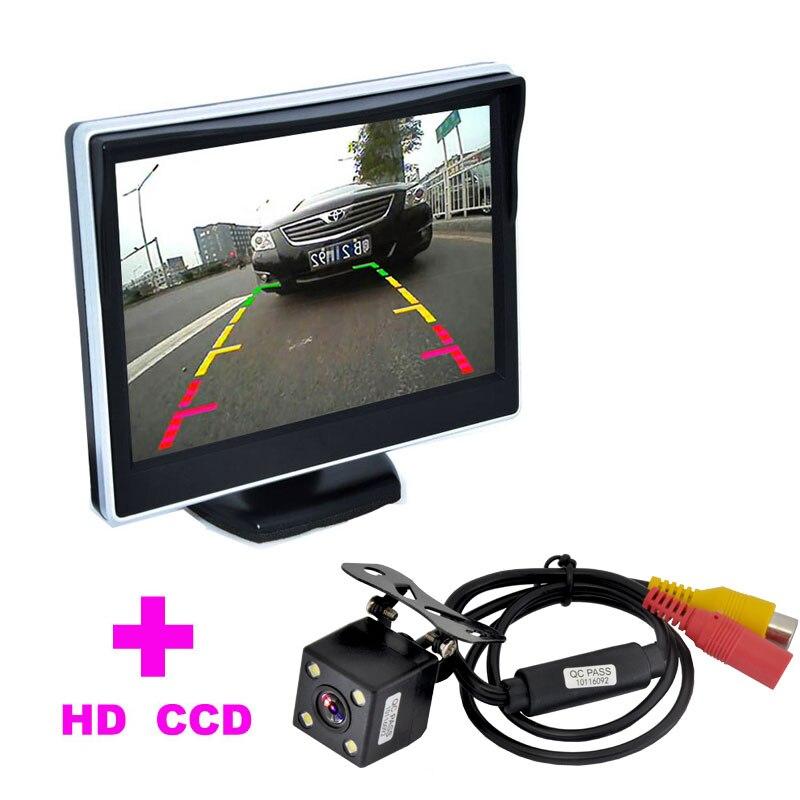 2 en 1 Auto Aide Au Stationnement Système 5 TFT LCD Moniteur De Voiture + 4LED Voiture Rétroviseur Caméra HD 170 Angle moniteur de voiture caméra de recul