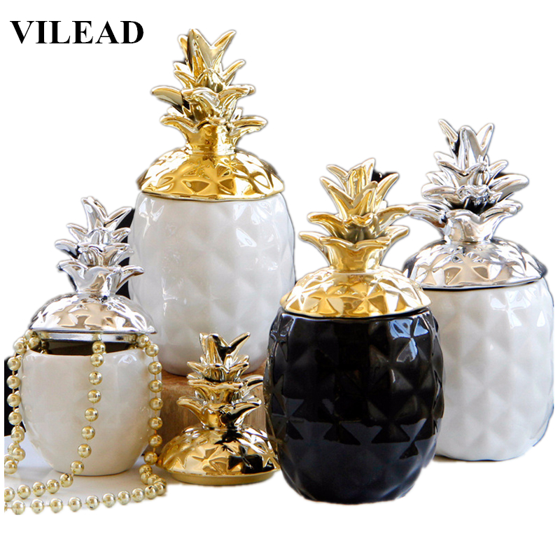 VILEAD 15.5cm 20.5cm Ceramic Pineapple Figurines Black White Pineapple Storage Box For Jewelry Fruit Crafts For Home Decoration