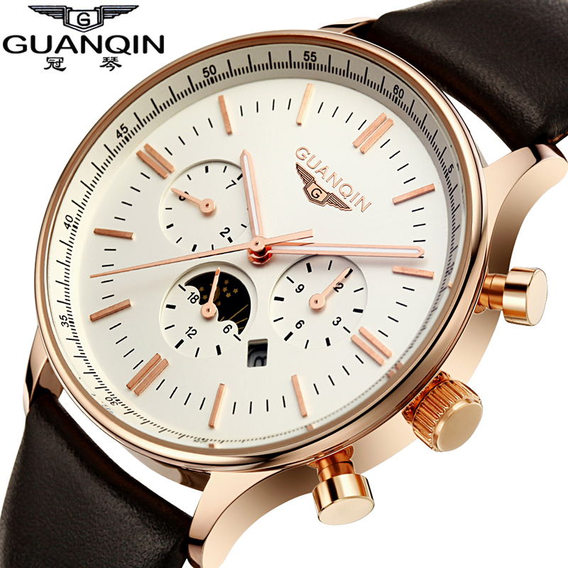 ФОТО Brand GUANQIN Men Quartz Watch Relogio Masculino Sport Leather Men's Watch Fashion Casual Big Dial Date Luminous Wristwatches