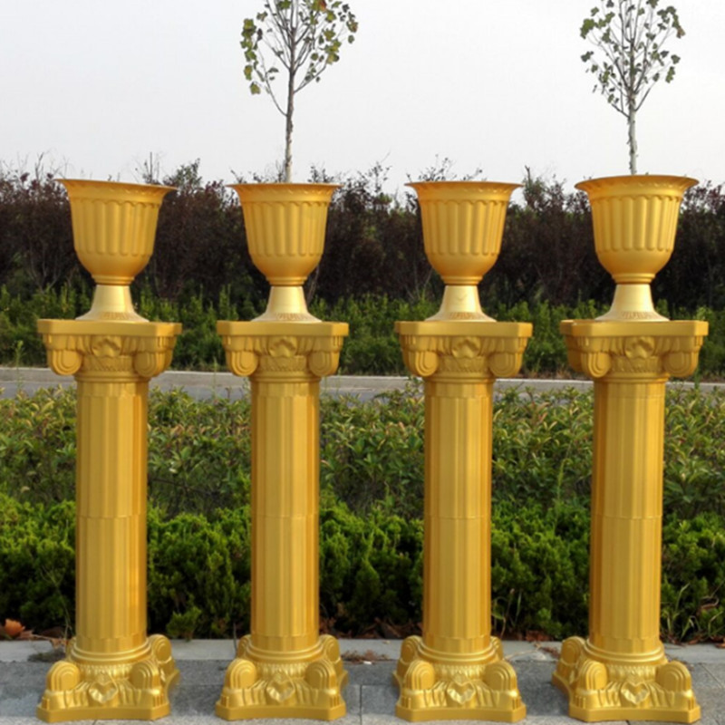 "Wedding Flower Pillars: 47""(120cm) Tall Gold Roman Column Wedding Centerpieces"