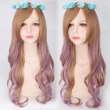 цена на European and American fashion for women female lolita harajuku style 75cm long curly wavy cosplay wig Brown Purple Gradient