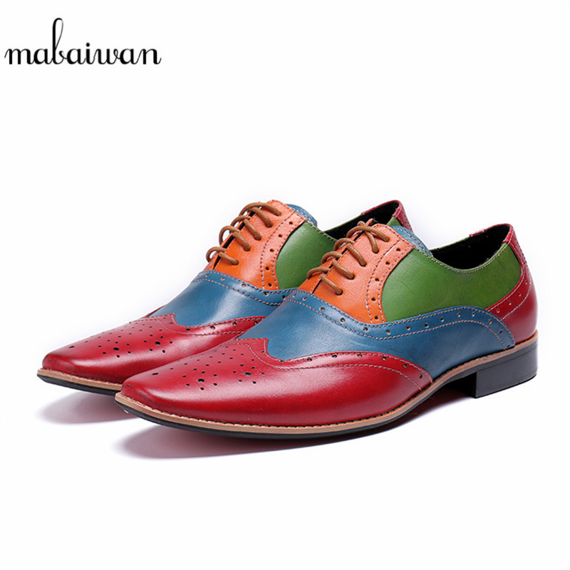 Mabaiwan High Quality Men Shoes Mixed Colors Genuine Leather Dress Shoes Men Lace Up Slipper Italy Business Wedding Formal Flats mabaiwan black genuine leather men shoes dress wedding male brogue shoes men lace up oxfords prom slipper business formal flats