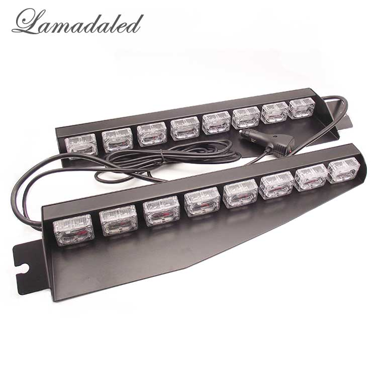 Lamadaled DC12V 2pcs 48w 45cm red blue led police car visor strobe lights auto vehicle split mount deck dash led warning lamp
