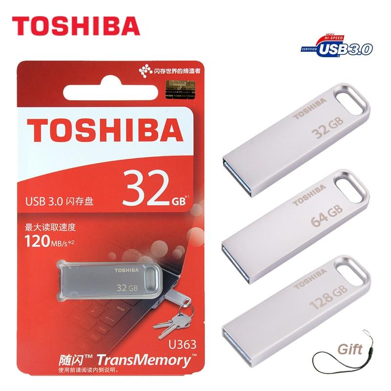 TOSHIBA USB Flash Drive USB3.0 U363 32GB 64gb chiavetta usb stick Pen Drive usb 128 gb De Metal À Prova D' Água dispositivo de armazenamento pendriv