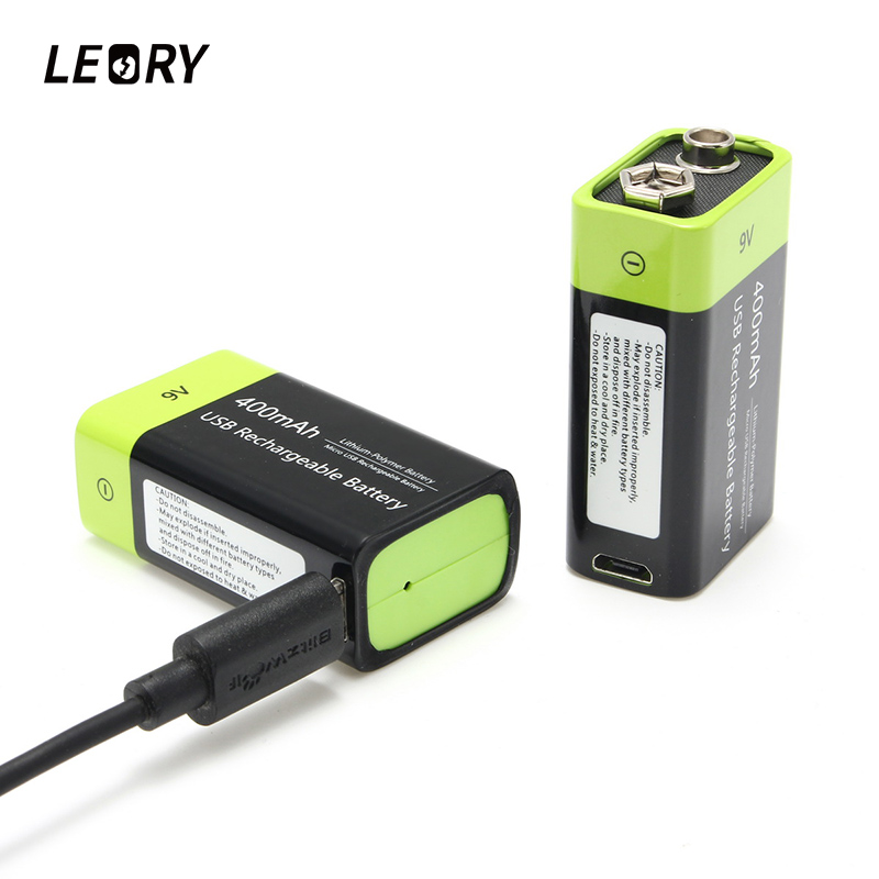 LEORY 2pcs ZNTER S19 9V 400mAh USB Lipo Rechargeable Battery Ultra Efficient 9V Lithium Polymer li