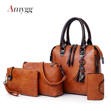 Luxe femmes sacs à main 4 pièces ensemble femmes Composite sac gland pendentif fourre tout sacs pour femmes grande capacité sac à bandoulière